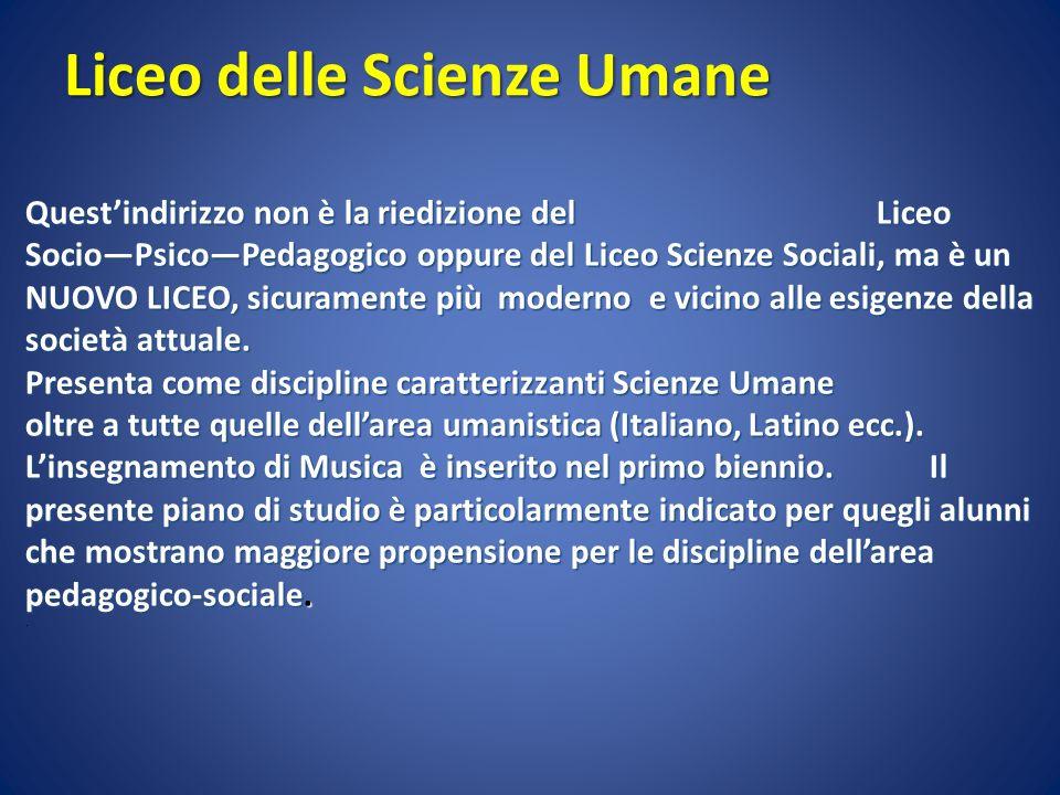 Liceo delle Scienze Umane Questindirizzo non è la riedizione del Liceo SocioPsicoPedagogico oppure del Liceo Scienze Sociali, ma è un NUOVO LICEO, sic