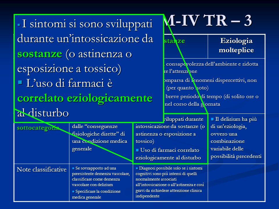 Il Delirium nel DSM-IV TR – 3 Carattere clinico Condizione Medica Generale Sostanze Eziologia molteplice Comune a tutte le sottocategorie Disturbo del