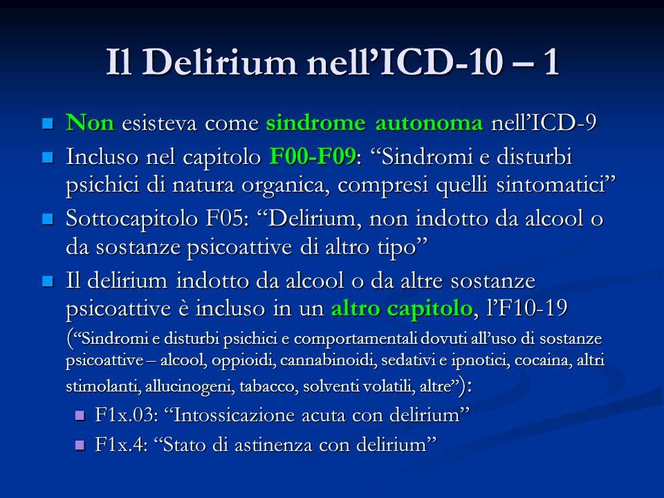 Il Delirium nellICD-10 – 1 Non esisteva come sindrome autonoma nellICD-9 Non esisteva come sindrome autonoma nellICD-9 Incluso nel capitolo F00-F09: Sindromi e disturbi psichici di natura organica, compresi quelli sintomatici Incluso nel capitolo F00-F09: Sindromi e disturbi psichici di natura organica, compresi quelli sintomatici Sottocapitolo F05: Delirium, non indotto da alcool o da sostanze psicoattive di altro tipo Sottocapitolo F05: Delirium, non indotto da alcool o da sostanze psicoattive di altro tipo Il delirium indotto da alcool o da altre sostanze psicoattive è incluso in un altro capitolo, lF10-19 ( Sindromi e disturbi psichici e comportamentali dovuti alluso di sostanze psicoattive – alcool, oppioidi, cannabinoidi, sedativi e ipnotici, cocaina, altri stimolanti, allucinogeni, tabacco, solventi volatili, altre ): Il delirium indotto da alcool o da altre sostanze psicoattive è incluso in un altro capitolo, lF10-19 ( Sindromi e disturbi psichici e comportamentali dovuti alluso di sostanze psicoattive – alcool, oppioidi, cannabinoidi, sedativi e ipnotici, cocaina, altri stimolanti, allucinogeni, tabacco, solventi volatili, altre ): F1x.03: Intossicazione acuta con delirium F1x.03: Intossicazione acuta con delirium F1x.4: Stato di astinenza con delirium F1x.4: Stato di astinenza con delirium