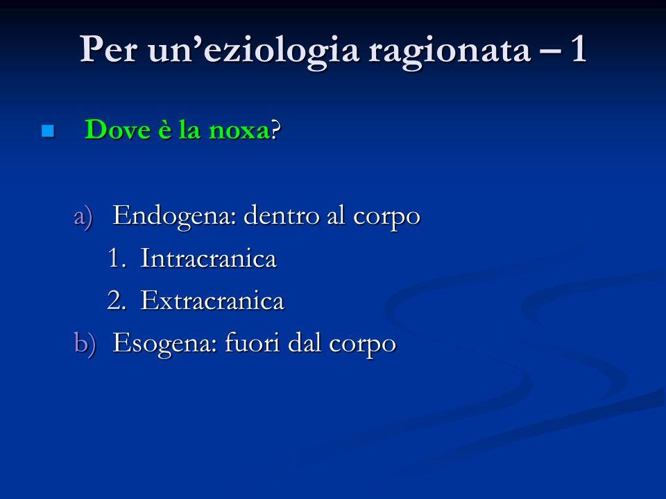 Per uneziologia ragionata – 1 Dove è la noxa? Dove è la noxa? a)Endogena: dentro al corpo 1.Intracranica 2.Extracranica b)Esogena: fuori dal corpo