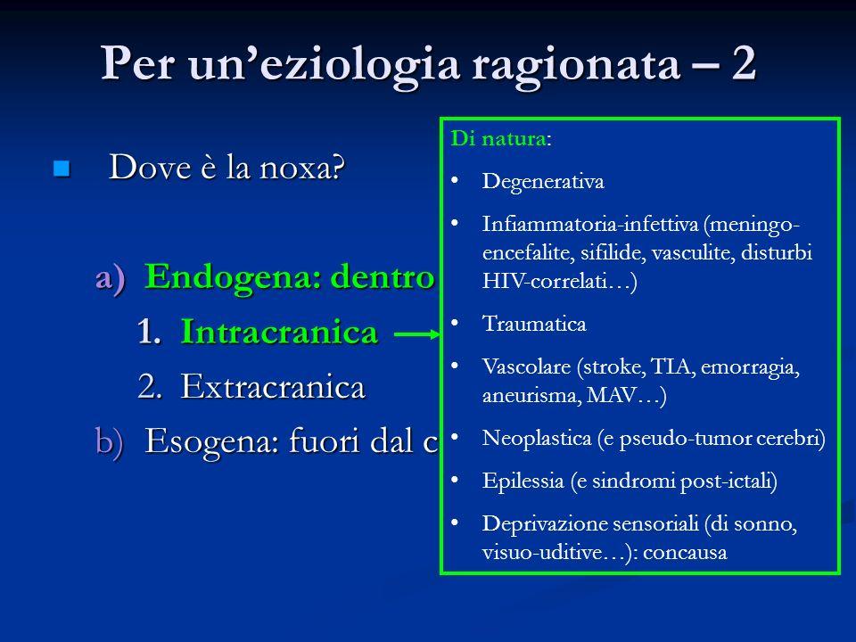 Per uneziologia ragionata – 2 Dove è la noxa? Dove è la noxa? a)Endogena: dentro al corpo 1.Intracranica 2.Extracranica b)Esogena: fuori dal corpo Di