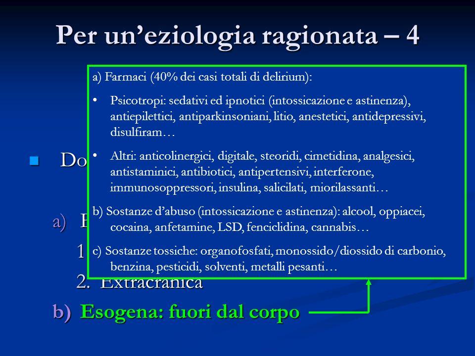 Per uneziologia ragionata – 4 Dove è la noxa? Dove è la noxa? a)Endogena: dentro al corpo 1.Intracranica 2.Extracranica b)Esogena: fuori dal corpo a)