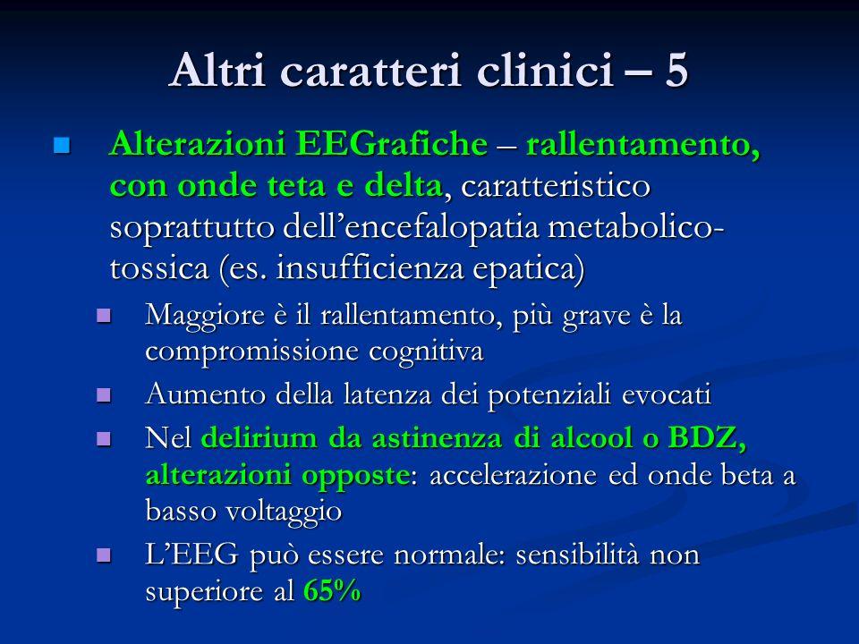 Altri caratteri clinici – 5 Alterazioni EEGrafiche – rallentamento, con onde teta e delta, caratteristico soprattutto dellencefalopatia metabolico- tossica (es.