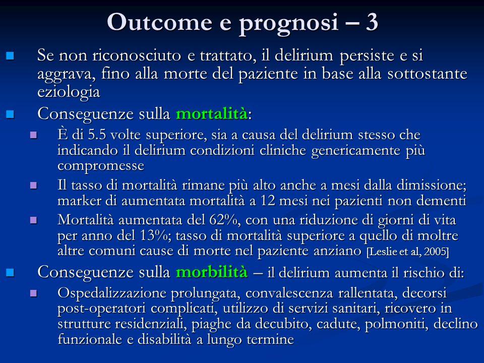 Outcome e prognosi – 3 Se non riconosciuto e trattato, il delirium persiste e si aggrava, fino alla morte del paziente in base alla sottostante eziolo