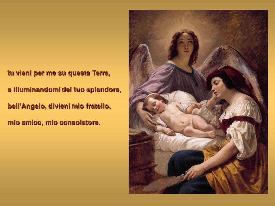 Glorioso custode della mia anima tu che brilli nel bel Cielo come dolce e pura fiamma, vicino al trono dell'Eterno;