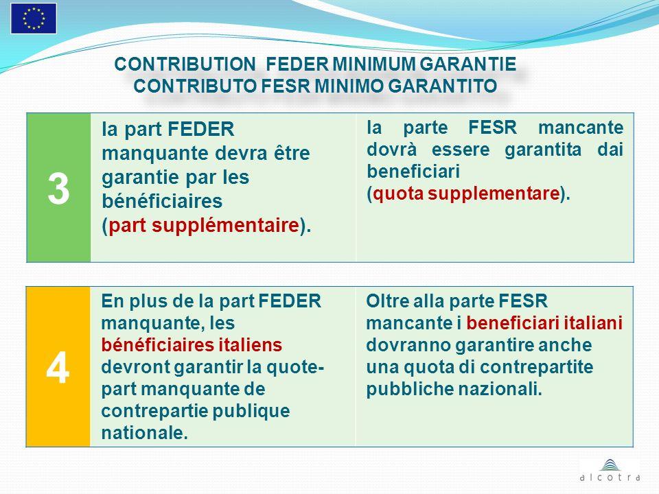 3 la part FEDER manquante devra être garantie par les bénéficiaires (part supplémentaire). la parte FESR mancante dovrà essere garantita dai beneficia