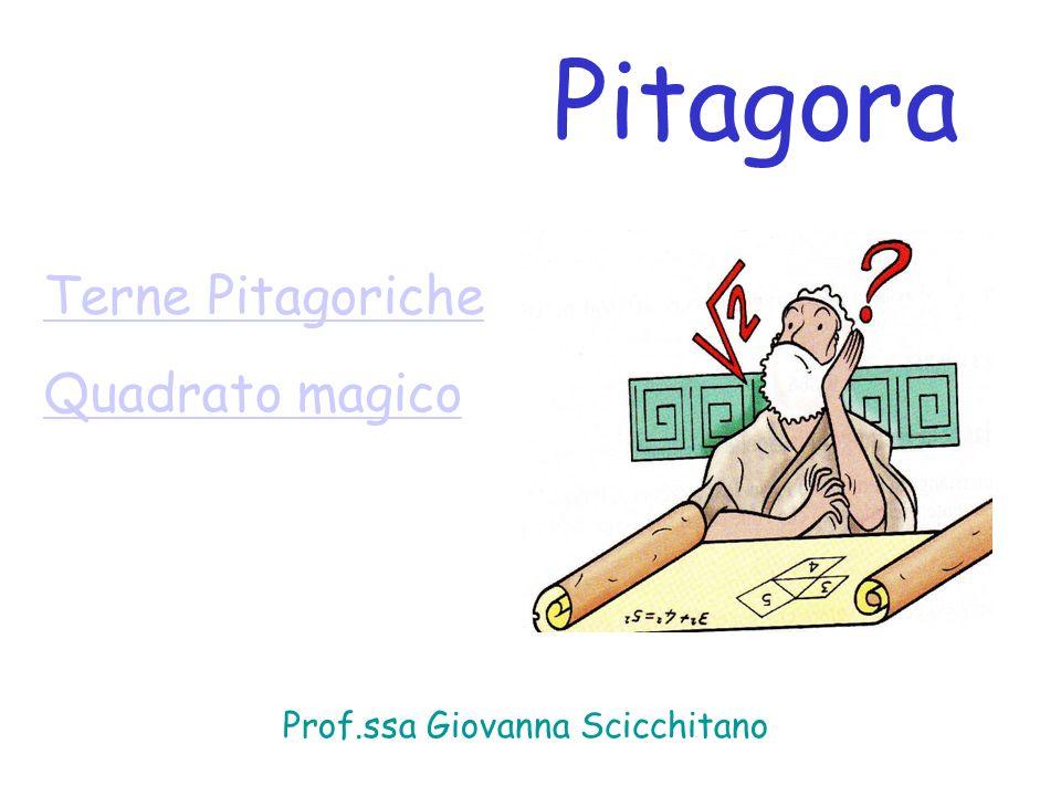 Terne Pitagoriche Quadrato magico Pitagora Prof.ssa Giovanna Scicchitano