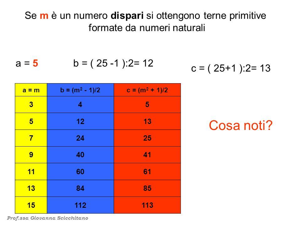 Se m è un numero dispari si ottengono terne primitive formate da numeri naturali b = ( 25 -1 ):2= 12 a = 5 c = ( 25+1 ):2= 13 Cosa noti.