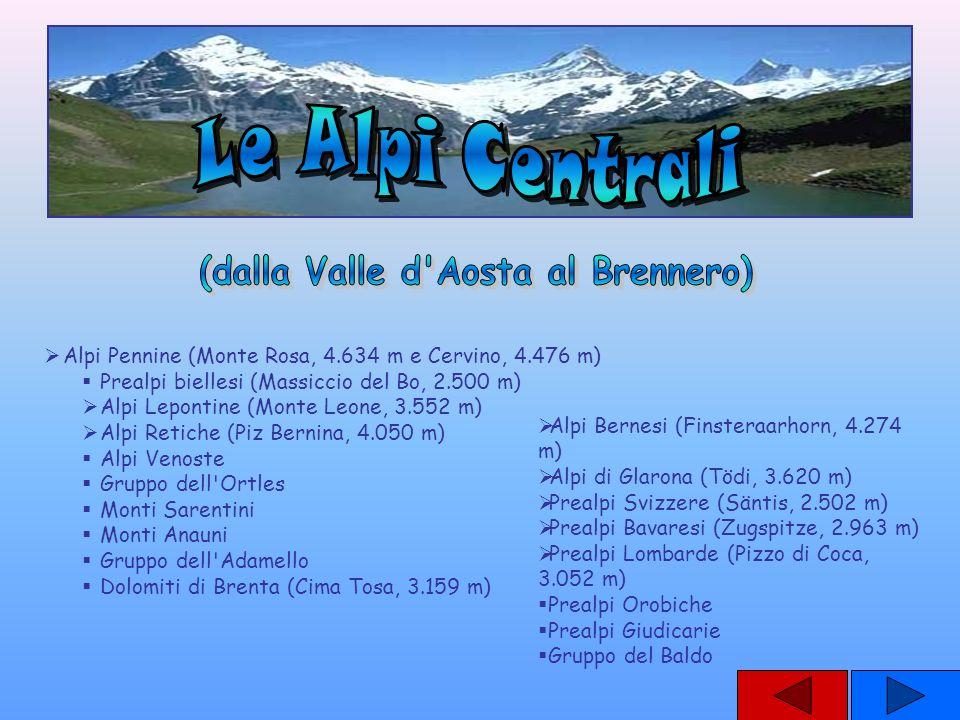 Alpi Pennine (Monte Rosa, 4.634 m e Cervino, 4.476 m) Prealpi biellesi (Massiccio del Bo, 2.500 m) Alpi Lepontine (Monte Leone, 3.552 m) Alpi Retiche