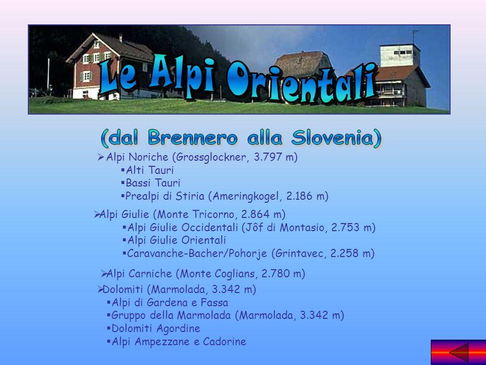 Alpi Noriche (Grossglockner, 3.797 m) Alti Tauri Bassi Tauri Prealpi di Stiria (Ameringkogel, 2.186 m) Alpi Giulie (Monte Tricorno, 2.864 m) Alpi Giul