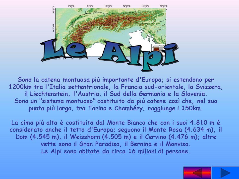 Sono la catena montuosa più importante d'Europa; si estendono per 1200km tra l'Italia settentrionale, la Francia sud-orientale, la Svizzera, il Liecht