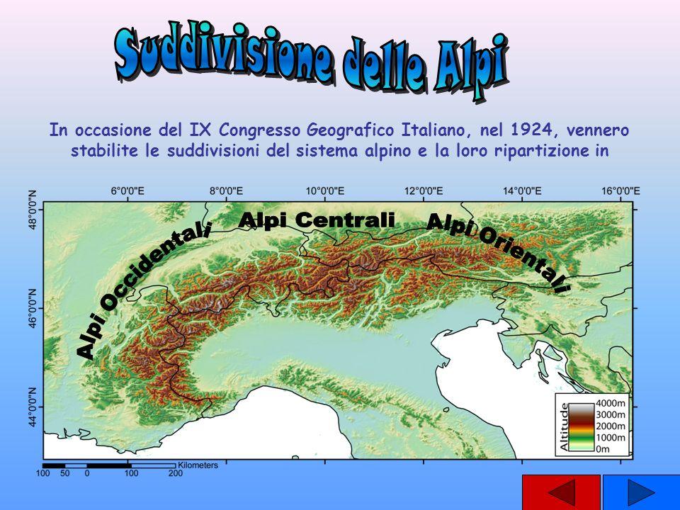 In occasione del IX Congresso Geografico Italiano, nel 1924, vennero stabilite le suddivisioni del sistema alpino e la loro ripartizione in