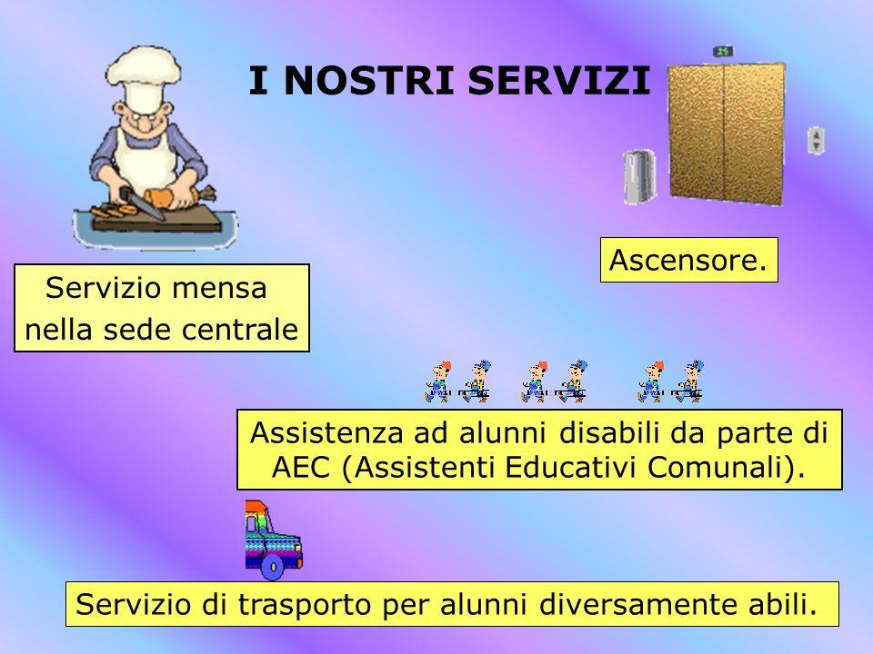 I NOSTRI SERVIZI Assistenza ad alunni disabili da parte di AEC (Assistenti Educativi Comunali). Servizio mensa nella sede centrale Servizio di traspor