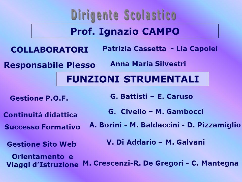 Prof. Ignazio CAMPO COLLABORATORI Patrizia Cassetta - Lia Capolei FUNZIONI STRUMENTALI Continuità didattica G. Battisti – E. Caruso Gestione P.O.F. Ge