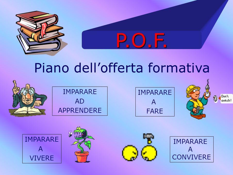 P.O.F. Piano dellofferta formativa IMPARARE AD APPRENDERE IMPARARE A FARE IMPARARE A VIVERE IMPARARE A CONVIVERE