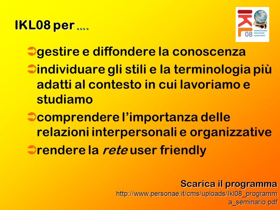 gestire e diffondere la conoscenza individuare gli stili e la terminologia più adatti al contesto in cui lavoriamo e studiamo comprendere limportanza delle relazioni interpersonali e organizzative rendere la rete user friendly IKL08 per ….