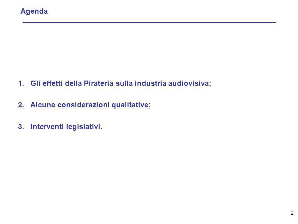 2 Agenda 1.Gli effetti della Pirateria sulla industria audiovisiva; 2.Alcune considerazioni qualitative; 3.Interventi legislativi.