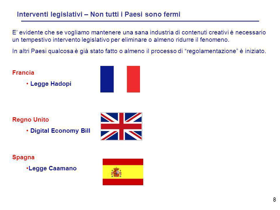 8 Interventi legislativi – Non tutti i Paesi sono fermi Spagna Legge Caamano E evidente che se vogliamo mantenere una sana industria di contenuti creativi è necessario un tempestivo intervento legislativo per eliminare o almeno ridurre il fenomeno.