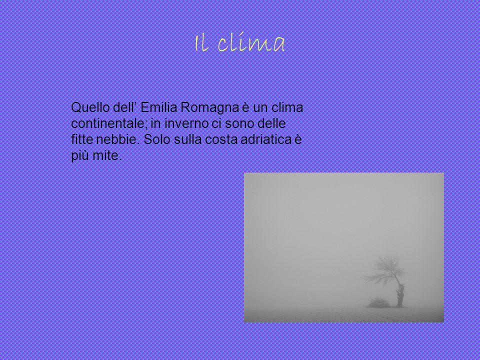 Il clima Quello dell Emilia Romagna è un clima continentale; in inverno ci sono delle fitte nebbie. Solo sulla costa adriatica è più mite.