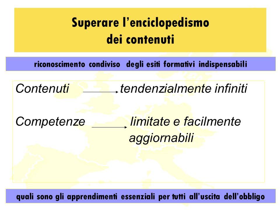 Superare lenciclopedismo dei contenuti Contenuti tendenzialmente infiniti Competenze limitate e facilmente aggiornabili quali sono gli apprendimenti essenziali per tutti alluscita dellobbligo riconoscimento condiviso degli esiti formativi indispensabili