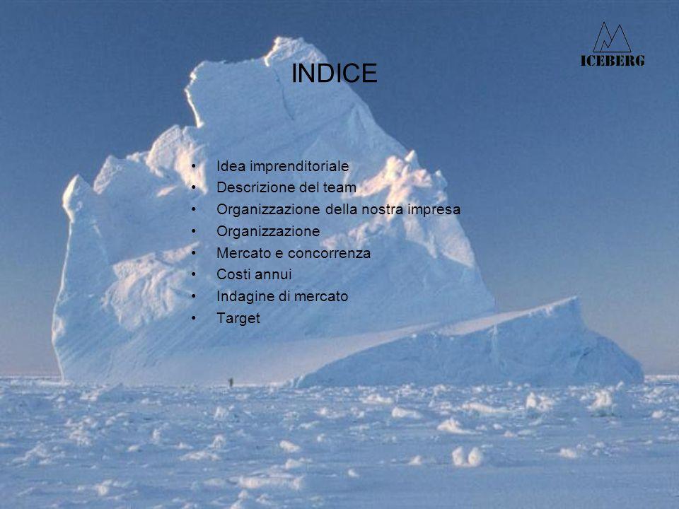 INDICE Idea imprenditoriale Descrizione del team Organizzazione della nostra impresa Organizzazione Mercato e concorrenza Costi annui Indagine di mercato Target