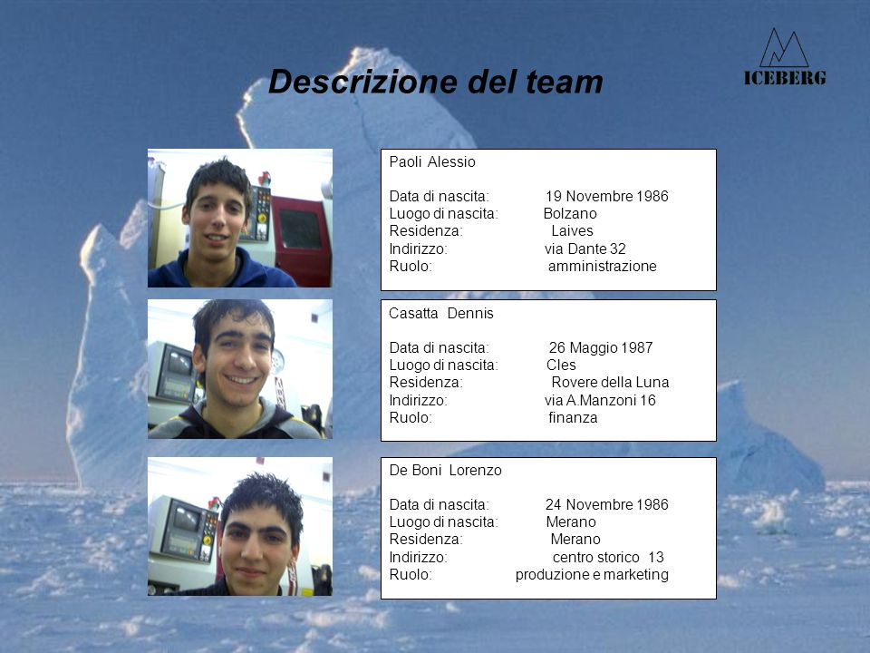 Descrizione del team Paoli Alessio Data di nascita: 19 Novembre 1986 Luogo di nascita: Bolzano Residenza: Laives Indirizzo: via Dante 32 Ruolo: ammini