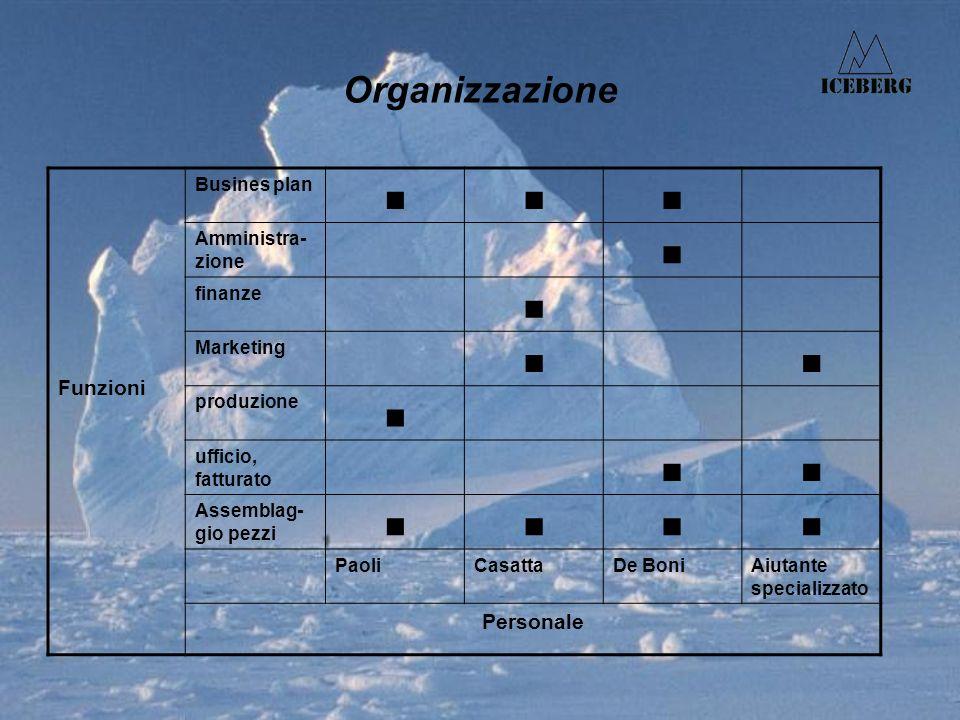 Organizzazione Funzioni Busines plan Amministra- zione finanze Marketing produzione ufficio, fatturato Assemblag- gio pezzi PaoliCasattaDe BoniAiutante specializzato Personale
