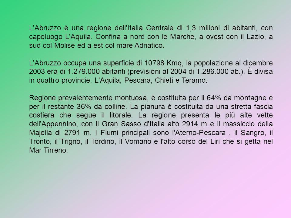 L'Abruzzo è una regione dell'Italia Centrale di 1,3 milioni di abitanti, con capoluogo L'Aquila. Confina a nord con le Marche, a ovest con il Lazio, a