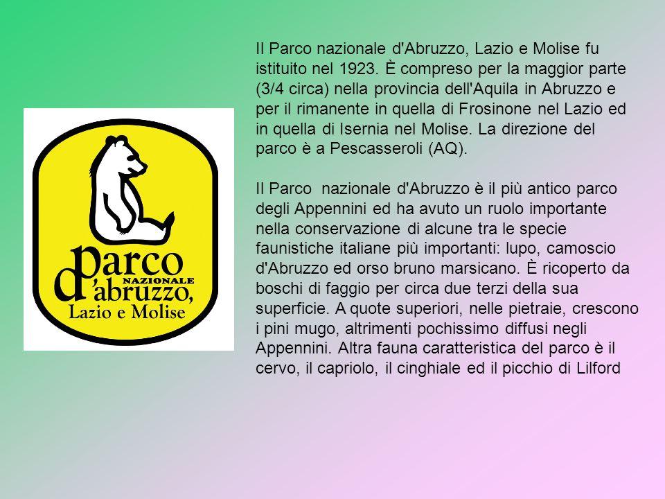 Il Parco nazionale d'Abruzzo, Lazio e Molise fu istituito nel 1923. È compreso per la maggior parte (3/4 circa) nella provincia dell'Aquila in Abruzzo