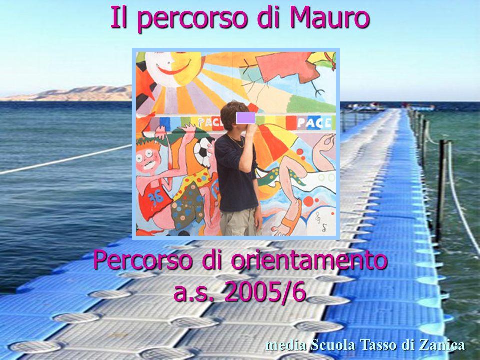 Il percorso di Mauro Percorso di orientamento a.s. 2005/6 media Scuola Tasso di Zanica