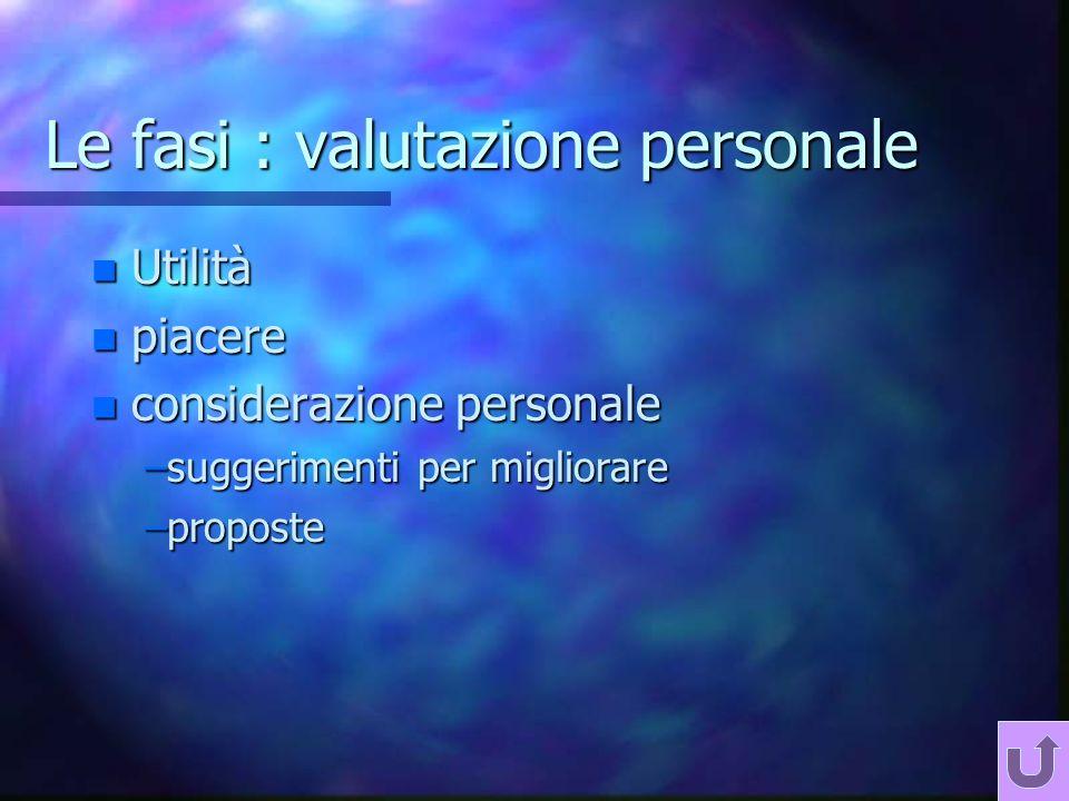 Le fasi : valutazione personale n Utilità n piacere n considerazione personale –suggerimenti per migliorare –proposte