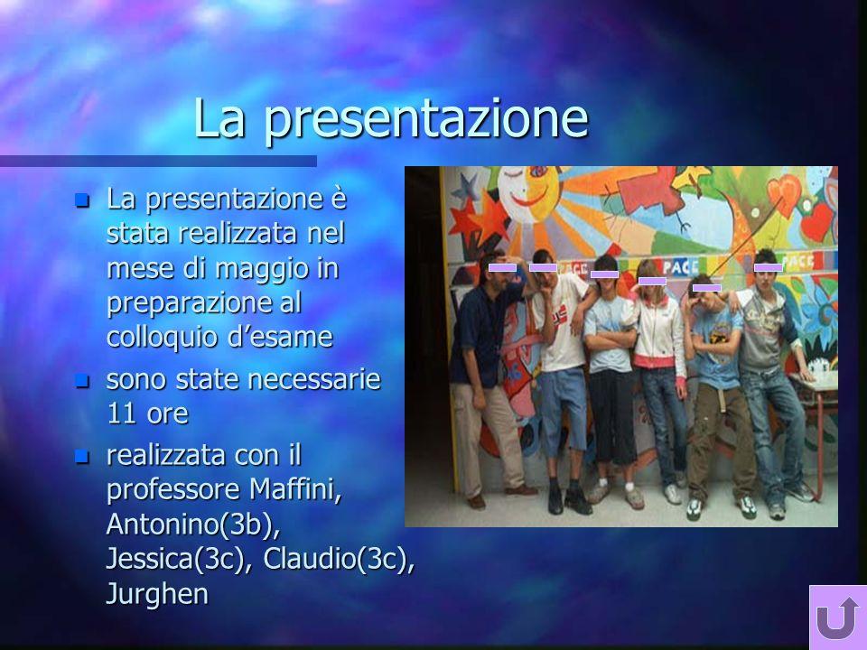 La presentazione n La presentazione è stata realizzata nel mese di maggio in preparazione al colloquio desame n sono state necessarie 11 ore n realizzata con il professore Maffini, Antonino(3b), Jessica(3c), Claudio(3c), Jurghen