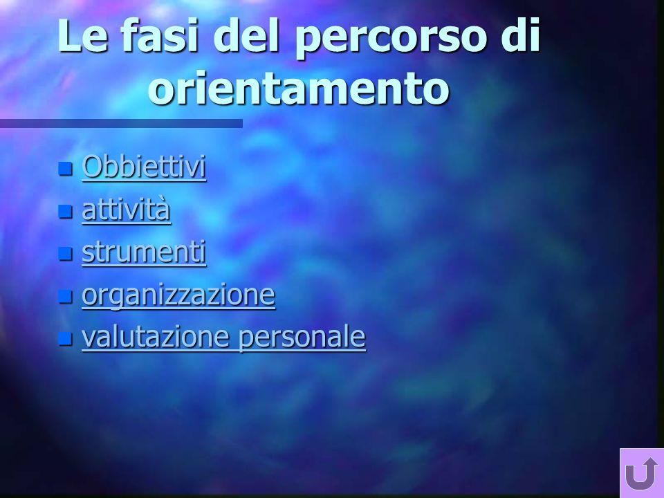 Le fasi del percorso di orientamento n Obbiettivi Obbiettivi n attività attività n strumenti strumenti n organizzazione organizzazione n valutazione personale valutazione personale valutazione personale