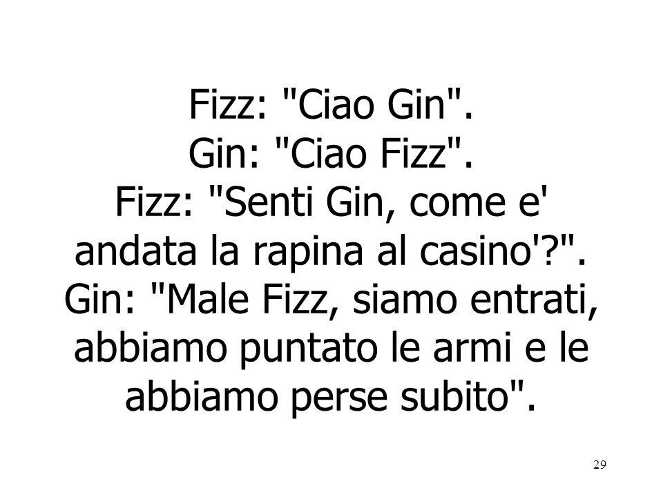 29 Fizz: Ciao Gin .Gin: Ciao Fizz . Fizz: Senti Gin, come e andata la rapina al casino ? .