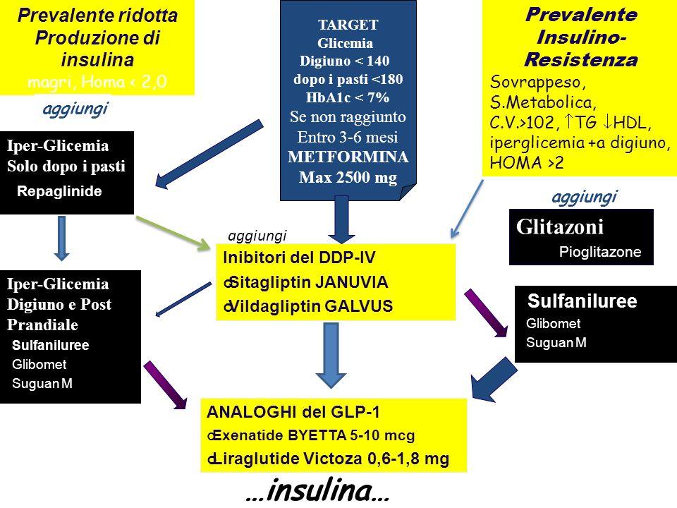 Prevalente Insulino- Resistenza Sovrappeso, S.Metabolica, C.V.>102, TG HDL, iperglicemia +a digiuno, HOMA >2 Prevalente ridotta Produzione di insulina