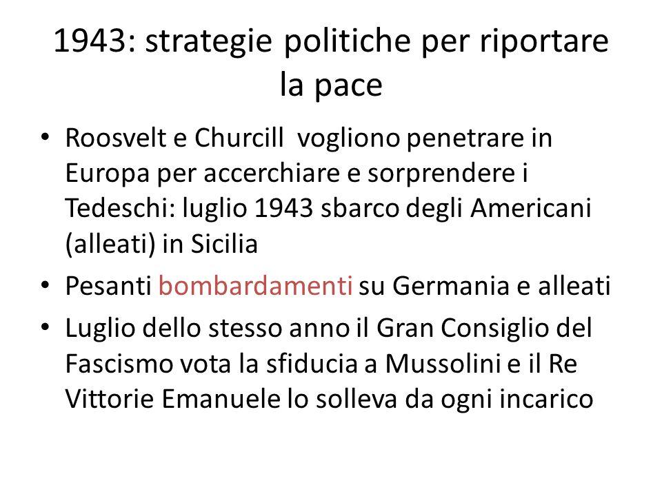 1943: strategie politiche per riportare la pace Roosvelt e Churcill vogliono penetrare in Europa per accerchiare e sorprendere i Tedeschi: luglio 1943