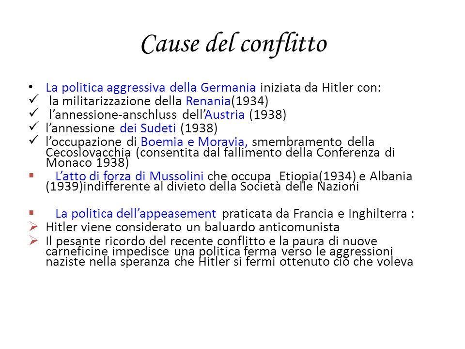 Cause del conflitto La politica aggressiva della Germania iniziata da Hitler con: la militarizzazione della Renania(1934) lannessione-anschluss dellAu