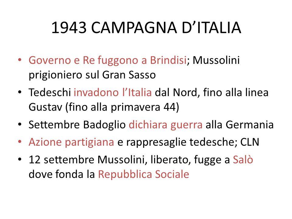 1943 CAMPAGNA DITALIA Governo e Re fuggono a Brindisi; Mussolini prigioniero sul Gran Sasso Tedeschi invadono lItalia dal Nord, fino alla linea Gustav
