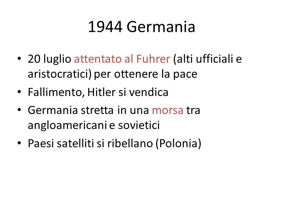 1944 Germania 20 luglio attentato al Fuhrer (alti ufficiali e aristocratici) per ottenere la pace Fallimento, Hitler si vendica Germania stretta in una morsa tra angloamericani e sovietici Paesi satelliti si ribellano (Polonia)
