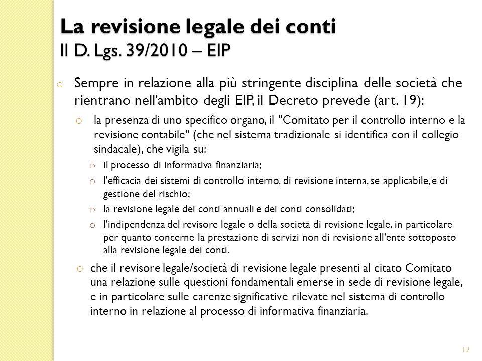 o Sempre in relazione alla più stringente disciplina delle società che rientrano nell ambito degli EIP, il Decreto prevede (art.