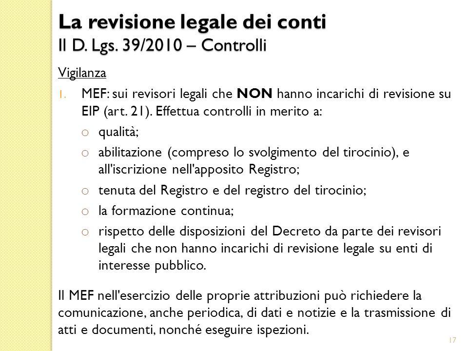 Vigilanza 1.MEF: sui revisori legali che NON hanno incarichi di revisione su EIP (art.