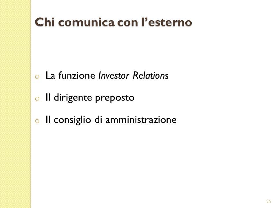 Chi comunica con lesterno o La funzione Investor Relations o Il dirigente preposto o Il consiglio di amministrazione 25