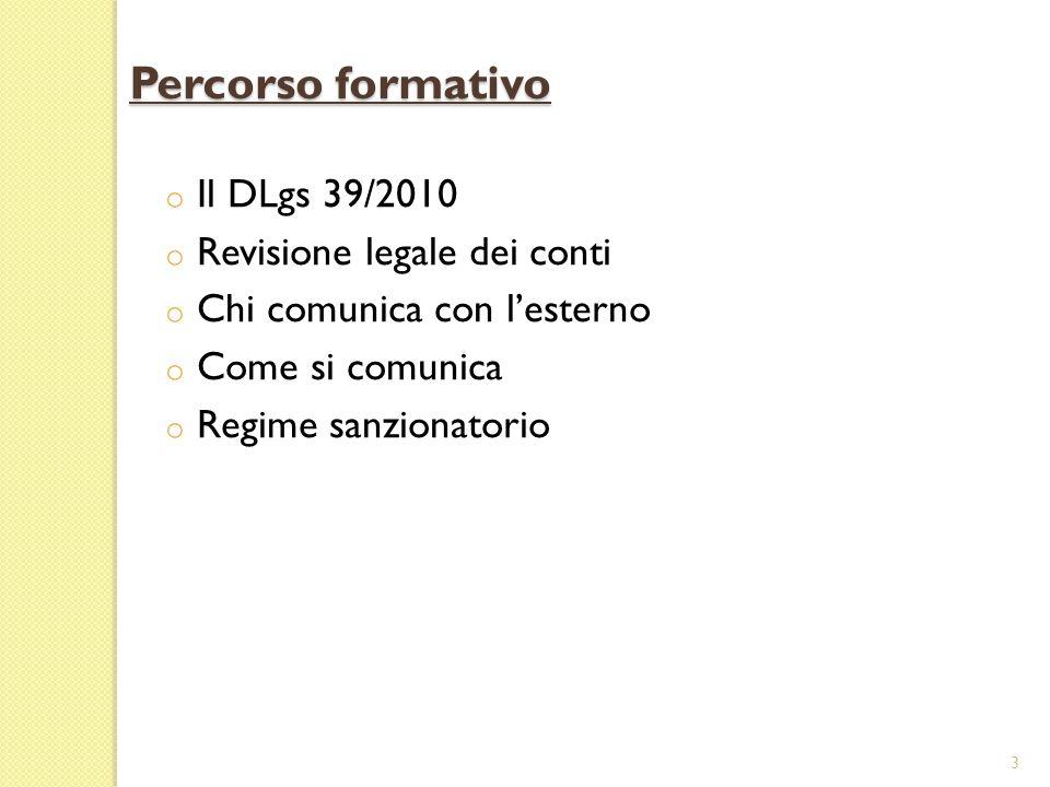 o Il DLgs 39/2010 o Revisione legale dei conti o Chi comunica con lesterno o Come si comunica o Regime sanzionatorio 3 Percorso formativo