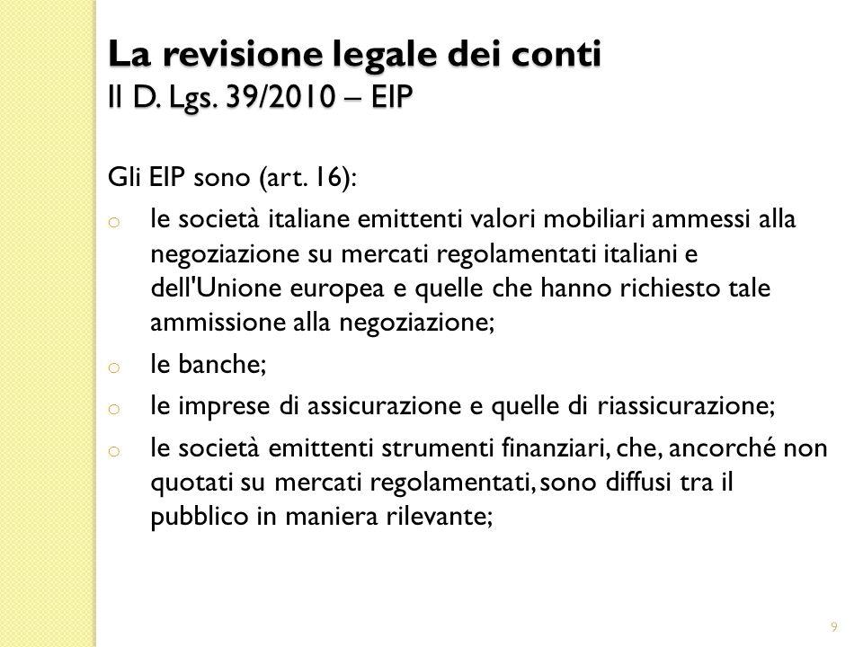 20 La revisione legale dei conti Il D.Lgs. 39/2010 Il Decreto n.