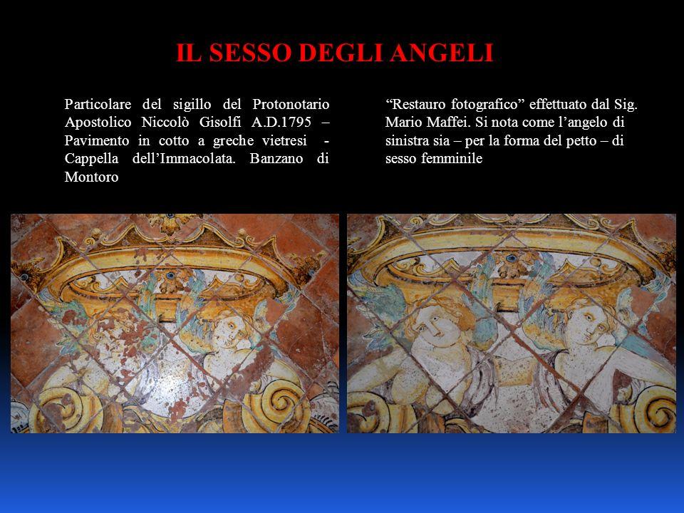 IL SESSO DEGLI ANGELI Particolare del sigillo del Protonotario Apostolico Niccolò Gisolfi A.D.1795 – Pavimento in cotto a greche vietresi - Cappella d