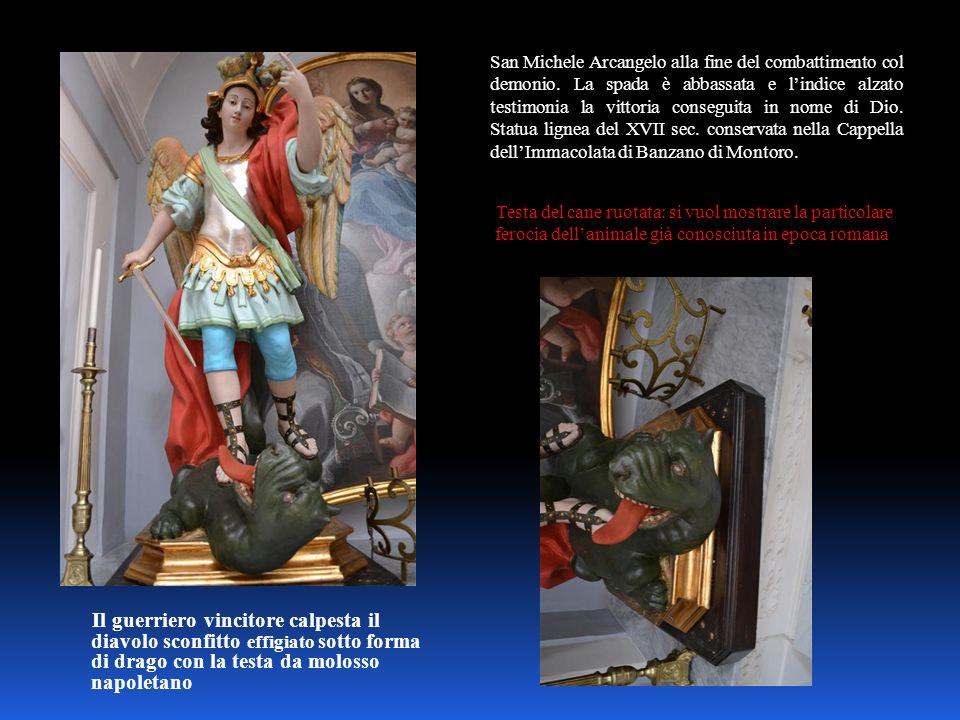 San Michele Arcangelo alla fine del combattimento col demonio. La spada è abbassata e lindice alzato testimonia la vittoria conseguita in nome di Dio.