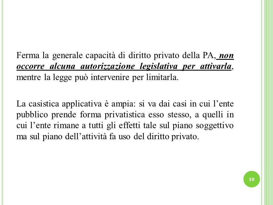Ferma la generale capacità di diritto privato della PA, non occorre alcuna autorizzazione legislativa per attivarla, mentre la legge può intervenire p