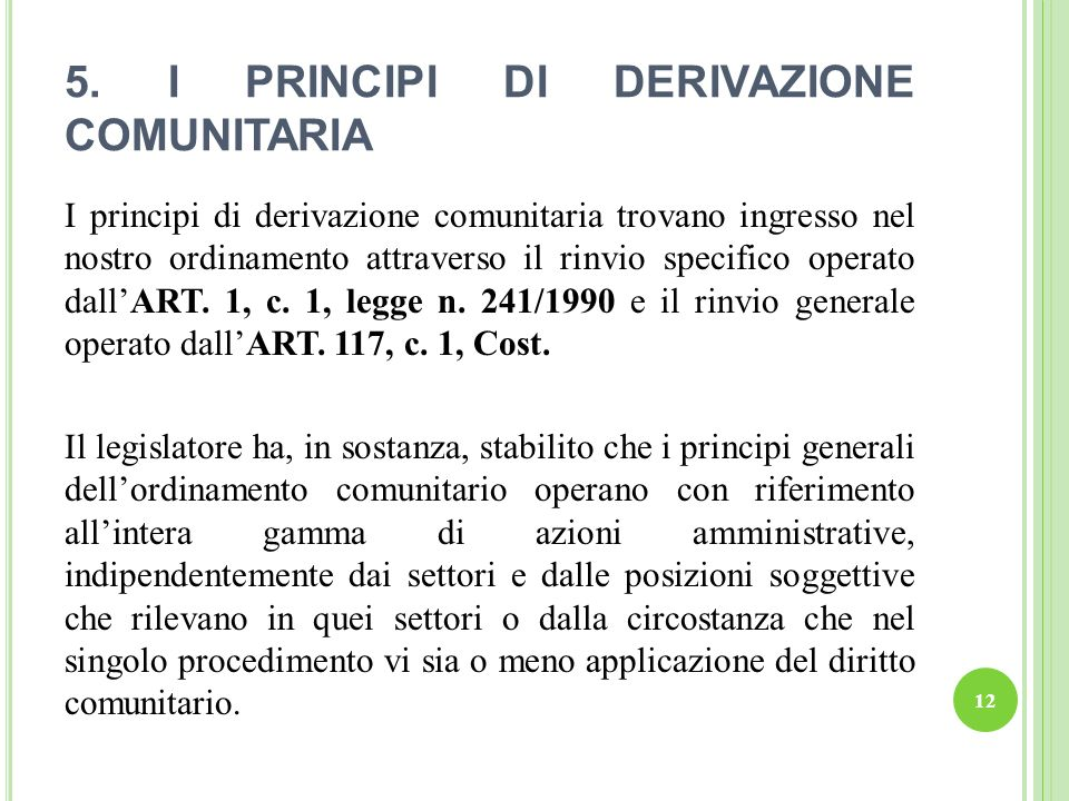 5. I PRINCIPI DI DERIVAZIONE COMUNITARIA I principi di derivazione comunitaria trovano ingresso nel nostro ordinamento attraverso il rinvio specifico
