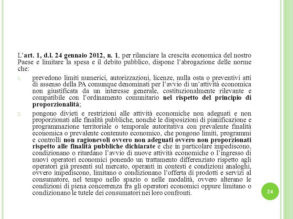 Lart. 1, d.l. 24 gennaio 2012, n. 1, per rilanciare la crescita economica del nostro Paese e limitare la spesa e il debito pubblico, dispone labrogazi