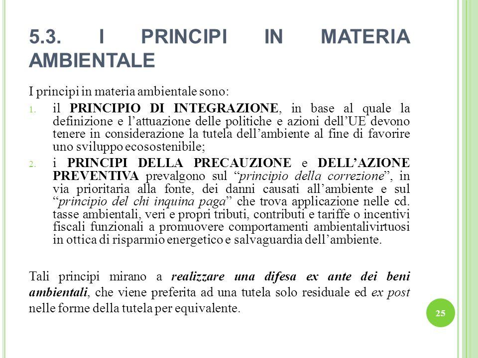 5.3. I PRINCIPI IN MATERIA AMBIENTALE I principi in materia ambientale sono: 1. il PRINCIPIO DI INTEGRAZIONE, in base al quale la definizione e lattua